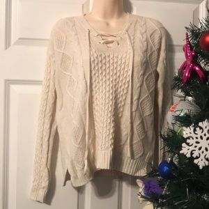 Lace up front cream Old Navy sweater